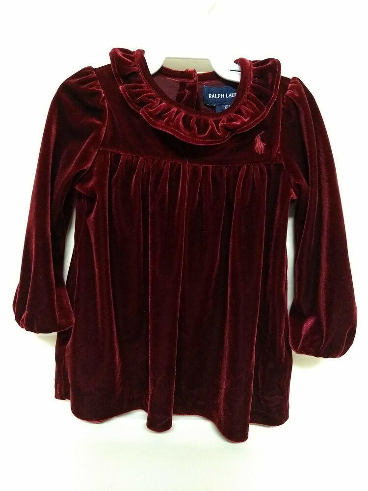 e7795749e Ralph Lauren Burgundy Velvet Baby Girl Dress long shirt 12 Months #fashion # clothing #shoes #accessories #babytoddlerclothing #girlsclothingnewborn5t  (ebay ...