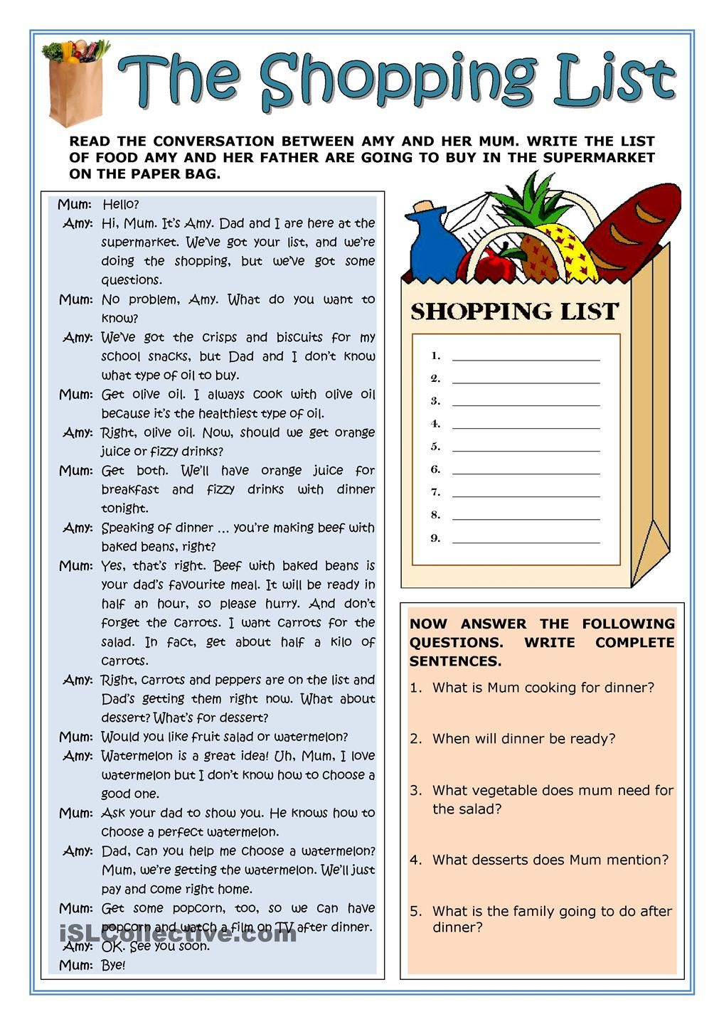 worksheet Shopping Worksheets the shopping list reading english language pinterest exercise based on a phone conversation between girl and her mother students fill in then they answer so