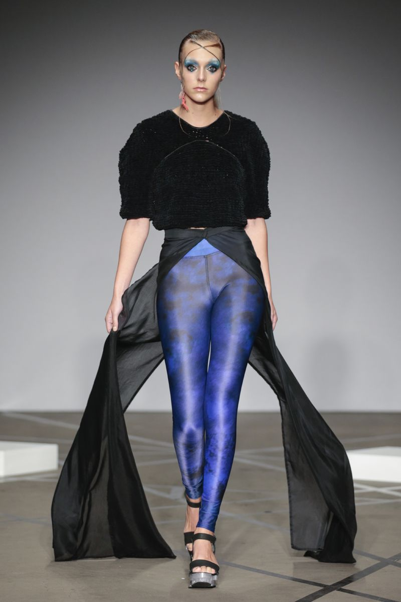 Knitted top and digital printed legging Garments by Judith van Vliet