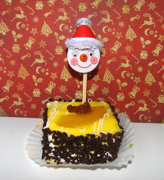 Quilling Topper De Cupcake Avec No L Bonhomme De Neige Set De Table 6 D Cor F Te D Corations
