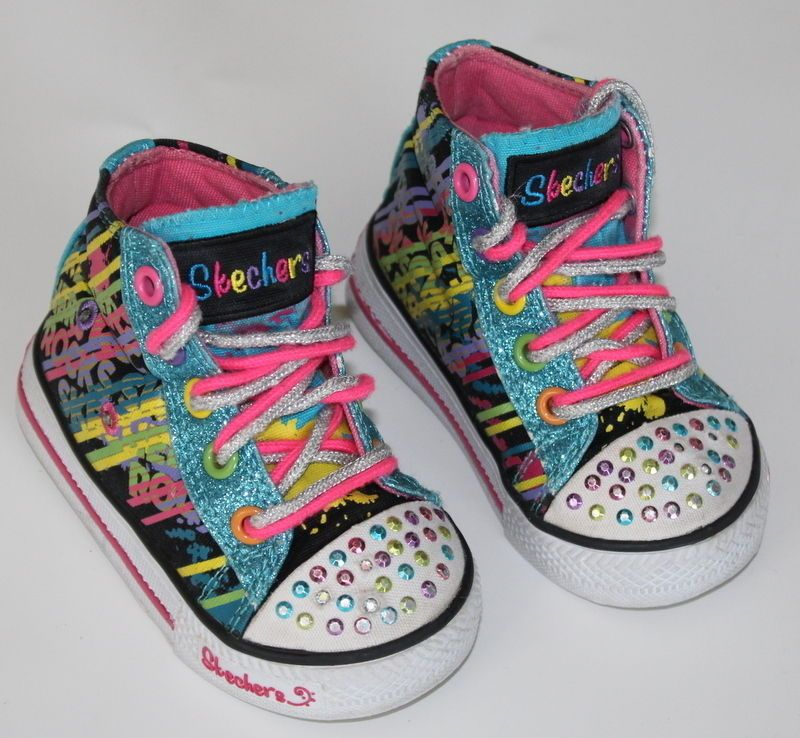 Skechers Super Cute Twinkle Toes Light Up High Top Shoes Boots