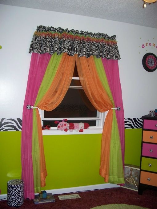 zebra, hot pink, lime green, orange, bedroom - girls' room designs