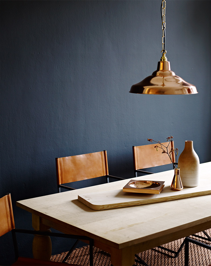 8fefa0adb4e Inspiration: moody blue accent wall, with bright copper pendant over dining  table.