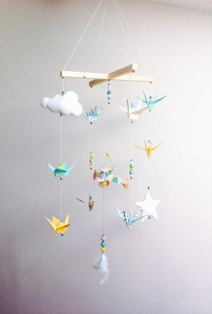 Mobile Bebe Origami Bois Vintage Par Creamaga Sur Etsy Diy Baby
