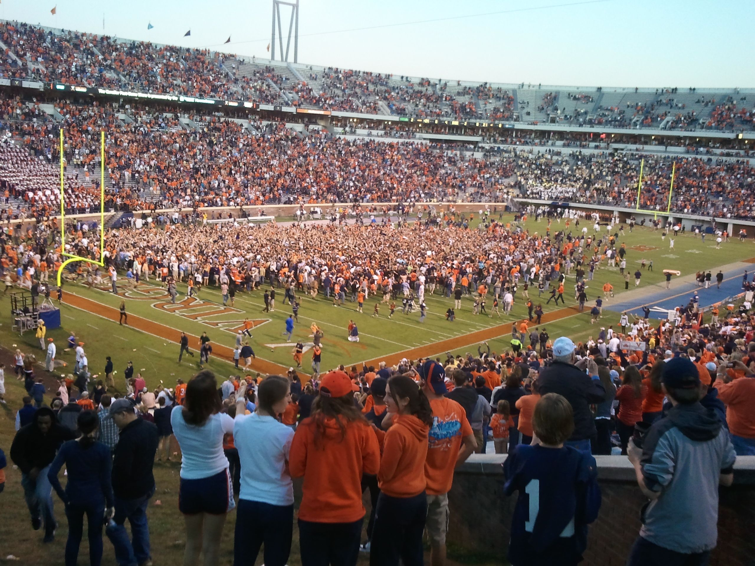 Storming the field after Uva beats Tech October 15
