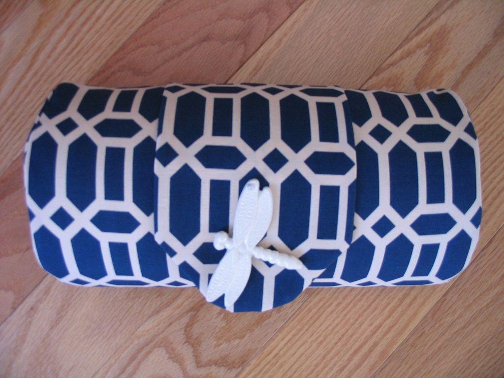 Current blue jewel head cushion rich geometric style head
