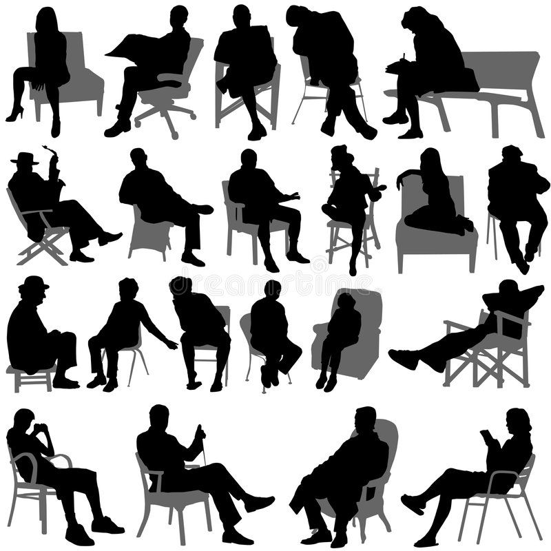 Sitting People Vector Vector Illustration Silhouette People Sketches Of People People Illustration