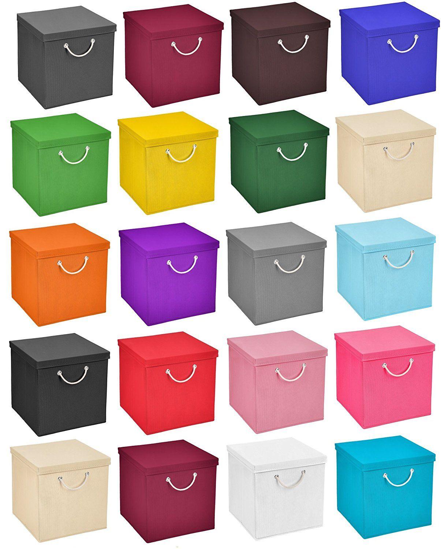 3x Aufbewahrungs Korb Weiss Faltbox 30 X 30 X 30 Cm Regalkorb Von Stick Shine Faltbar Mit Kordel Und Mit Deckel Amazon De Diy Storage Kallax Ikea Storage Boxes