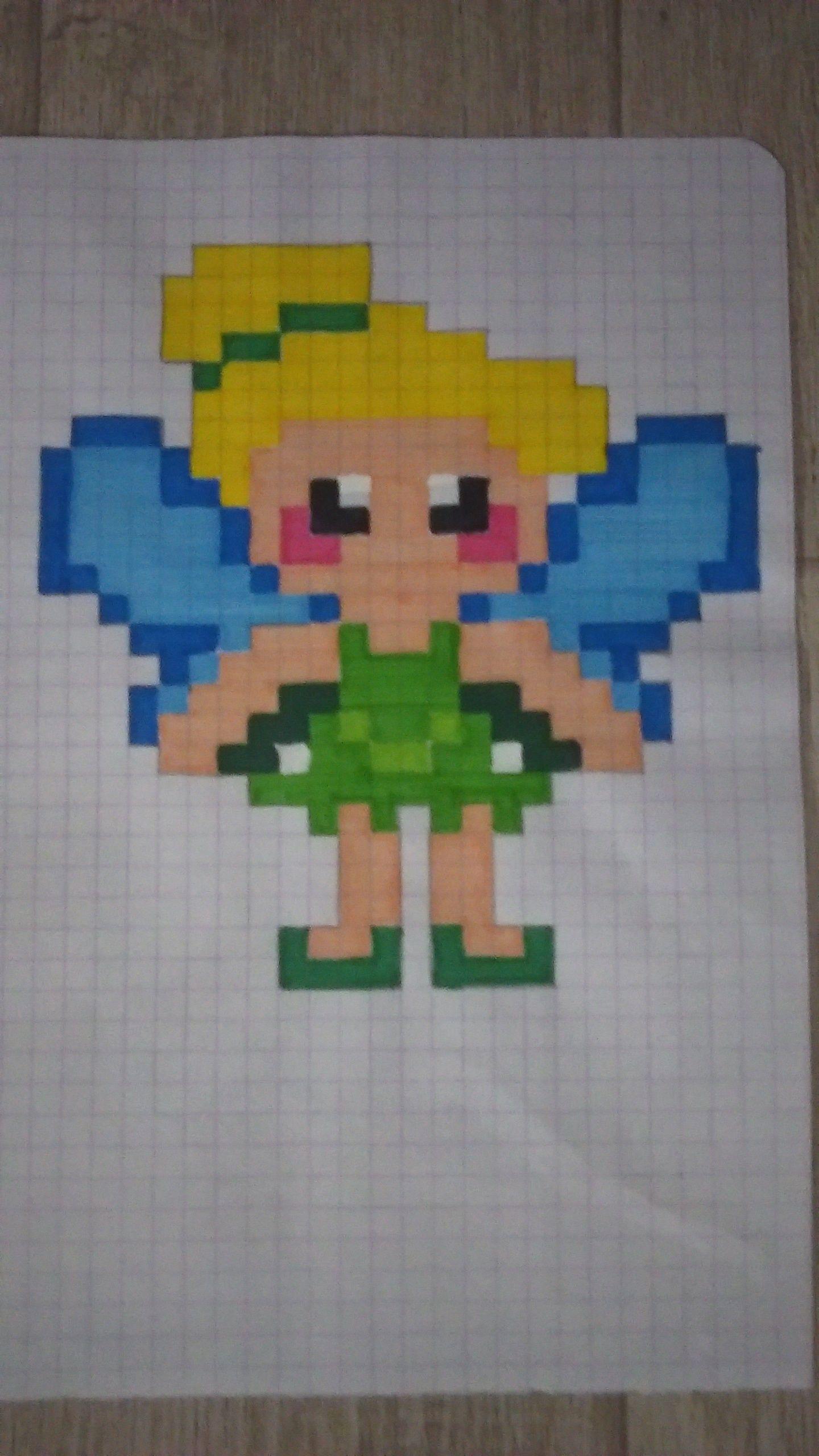 La F E Clochette En Pixel Art Peter Pan Disney Pompom Ptites