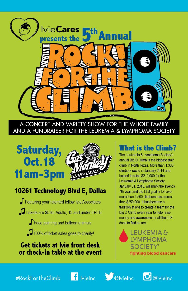 So excited to announce that our 5th Annual Rock For The Climb will be held on October 18th at Gas Monkey Bar n Grill in Dallas! #RockForTheClimb is an annual fundraiser benefiting the @llsorg through a day of live music, family friendly activities and great food! Come join us! #LLS #Leukemia #Lymphoma #IvieCares #IvieInc