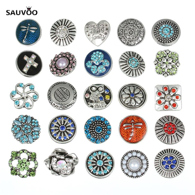 Sauvoo 10pcs/lot Mixed Color Rhinestone Crystal Flower Animal Metal Buttons Base Dia 20mm for Diy Decoration F5399 #Affiliate