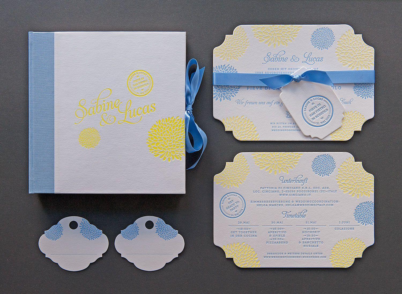 #stationery #letterpress #vintage #weddinginvitation #inspiration #weddingstyle #weddingday #design #lenahoschek #flower #roses #diecut #savethedate #elegant #luxury #tuscanywedding #yellow #blue #hangingtag