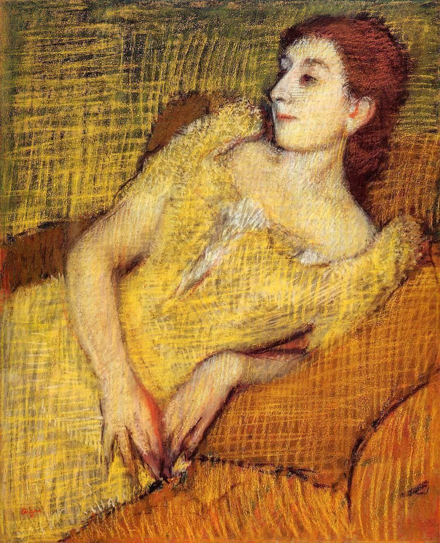 Edgar Degas - Seated Woman in a yellow dress (1890)