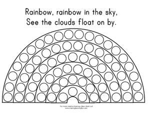 Do a dot rainbow template -- lots of other rainbow activities on ...