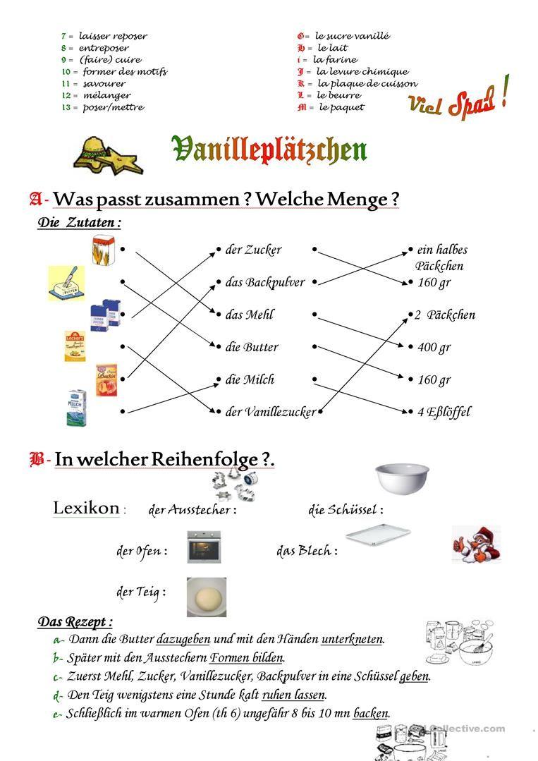 Vanilleplätzchen - Ein Rezept Arbeitsblatt - Kostenlose DAF ...