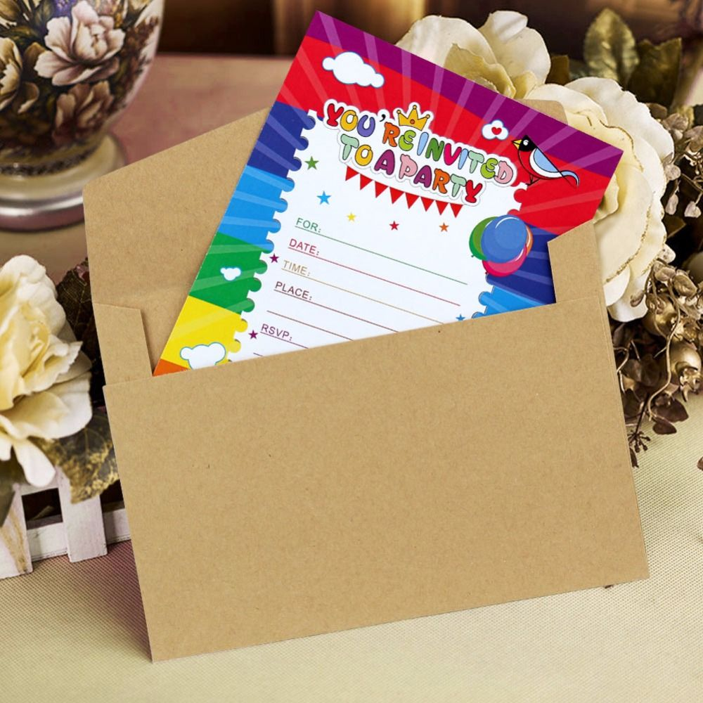 Ourwarm 12pcs Paper Happy Birthday Card Blank Invitation Cards Party