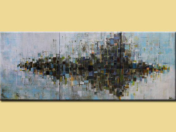 Original peinture abstraite, abstrait paysage peinture, abstrait art peinture abstraite grand paysage urbain byOAK