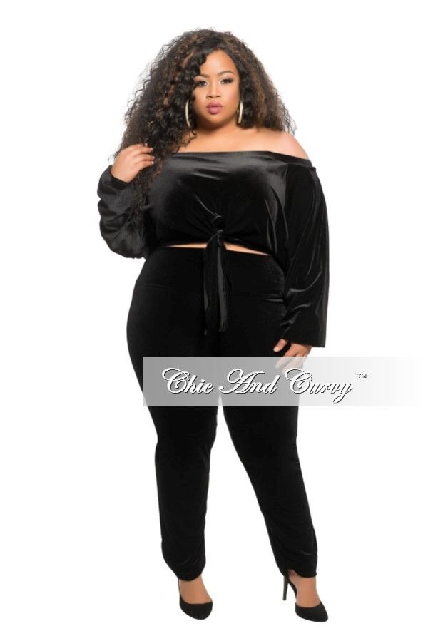 f0e1957a72cd4 Plus Size 2 Piece Velour Off the Shoulder Crop Top and Pants Set i – Chic  And Curvy