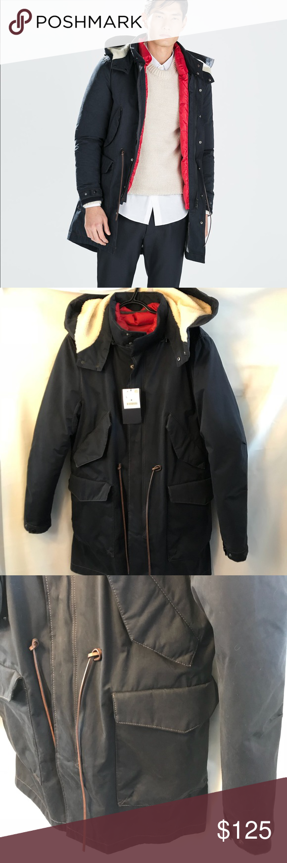 Zara Men's Winter Parka w/ detachable down puffer NWT