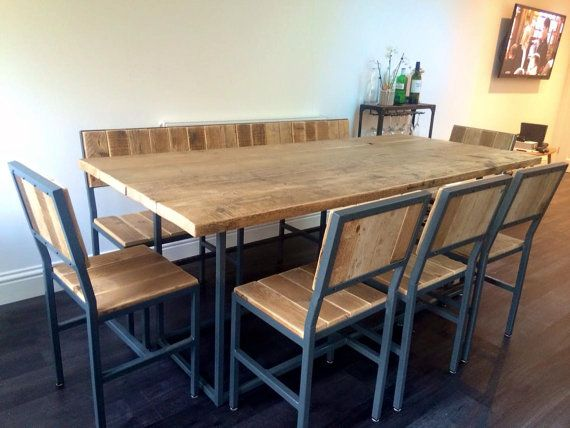 INDUSTRIAL STYLE DINING TABLE, BENCH U0026 CHAIR SET   Hand Made In UK By 101