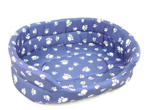 NEW PET DOG BED – BLUE w. WHITE PAWS PILLOW – « Pet Lovers Ads