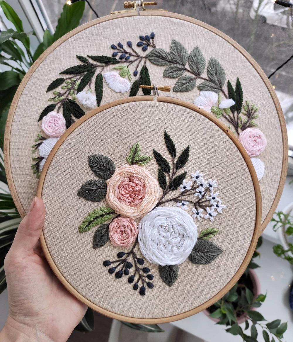 Pdf pattern+ video tutorial. Garden roses/ digital tutorial floral diy  hand embroidery Digital Down – CHRISTMAS