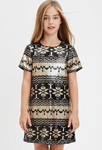 Girls Sequined Fair Isle Dress (Kids) | Forever 21 girls ...
