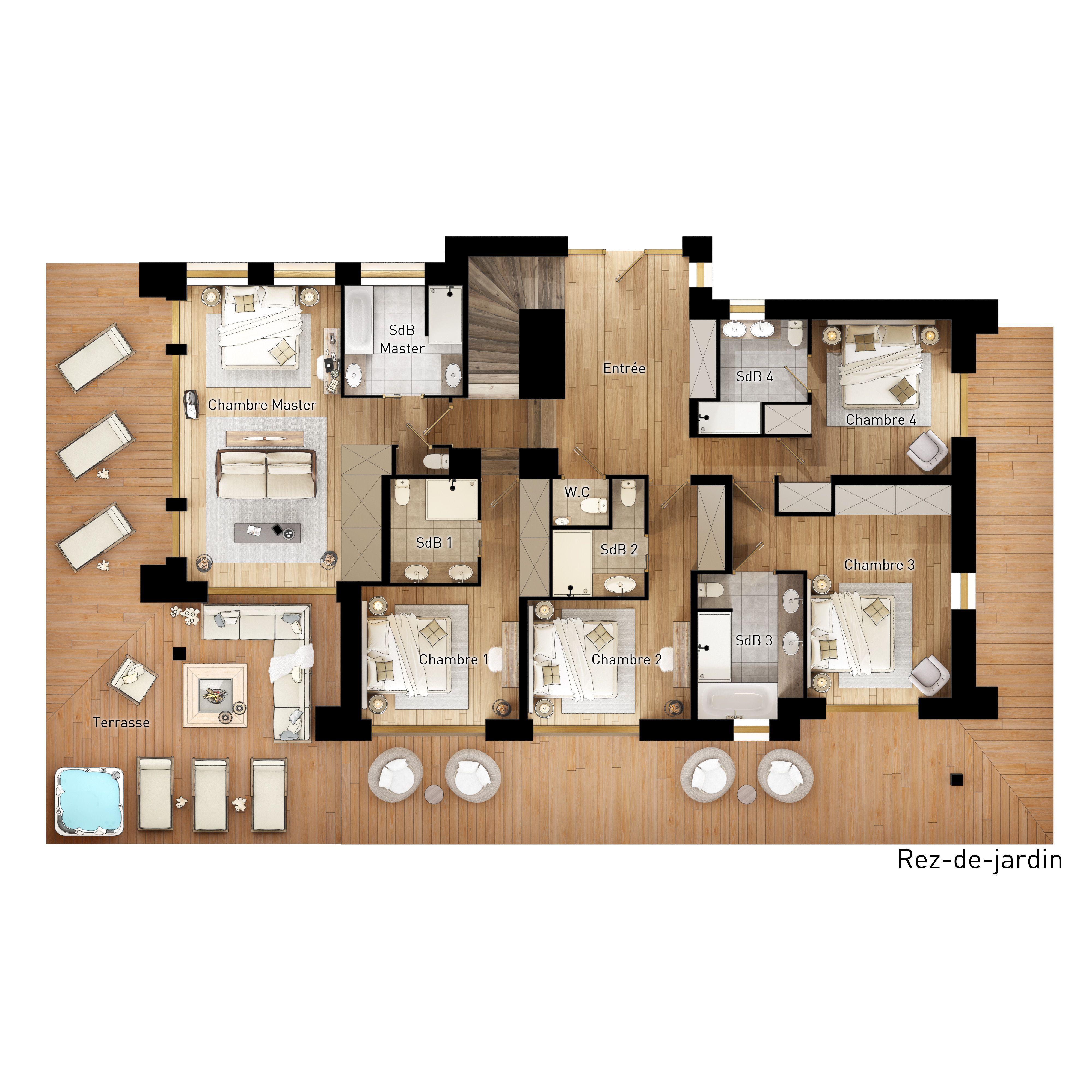 plan chalet-projet immobilier Megeve - construction de luxe-chalet ...