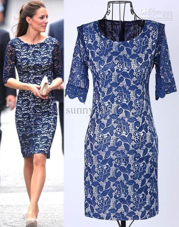 Spring New Fashion Women Clothing Kate Middleton Lace Dress Lady ...