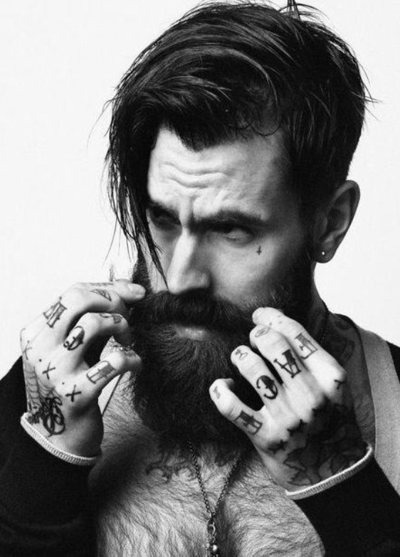 Awesome Beard Tattoo Beards And Barbers On Pinterest Hairstyles For Men Maxibearus