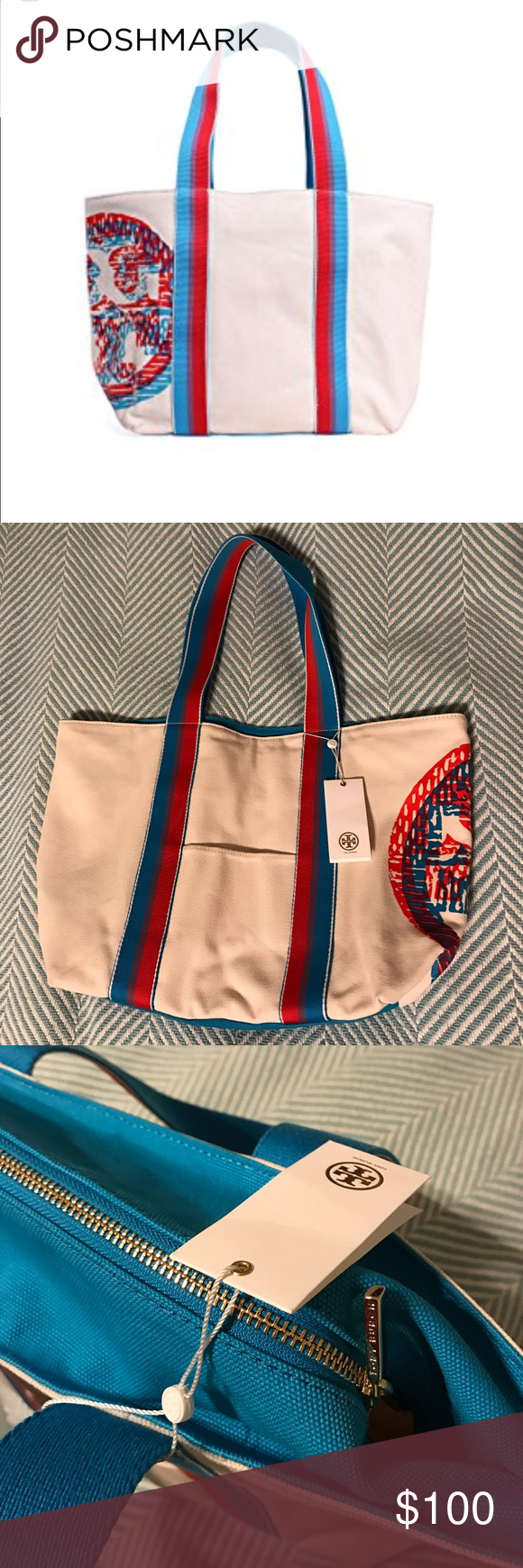 Tory Burch canvas NWT Canvas beach small tote bag. Tory Burch Bags Totes