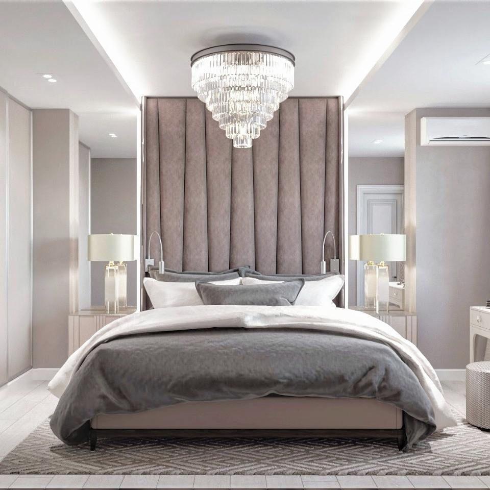 Bedroom. Brown. Beige. Light brown. Grey bedding. Velvet
