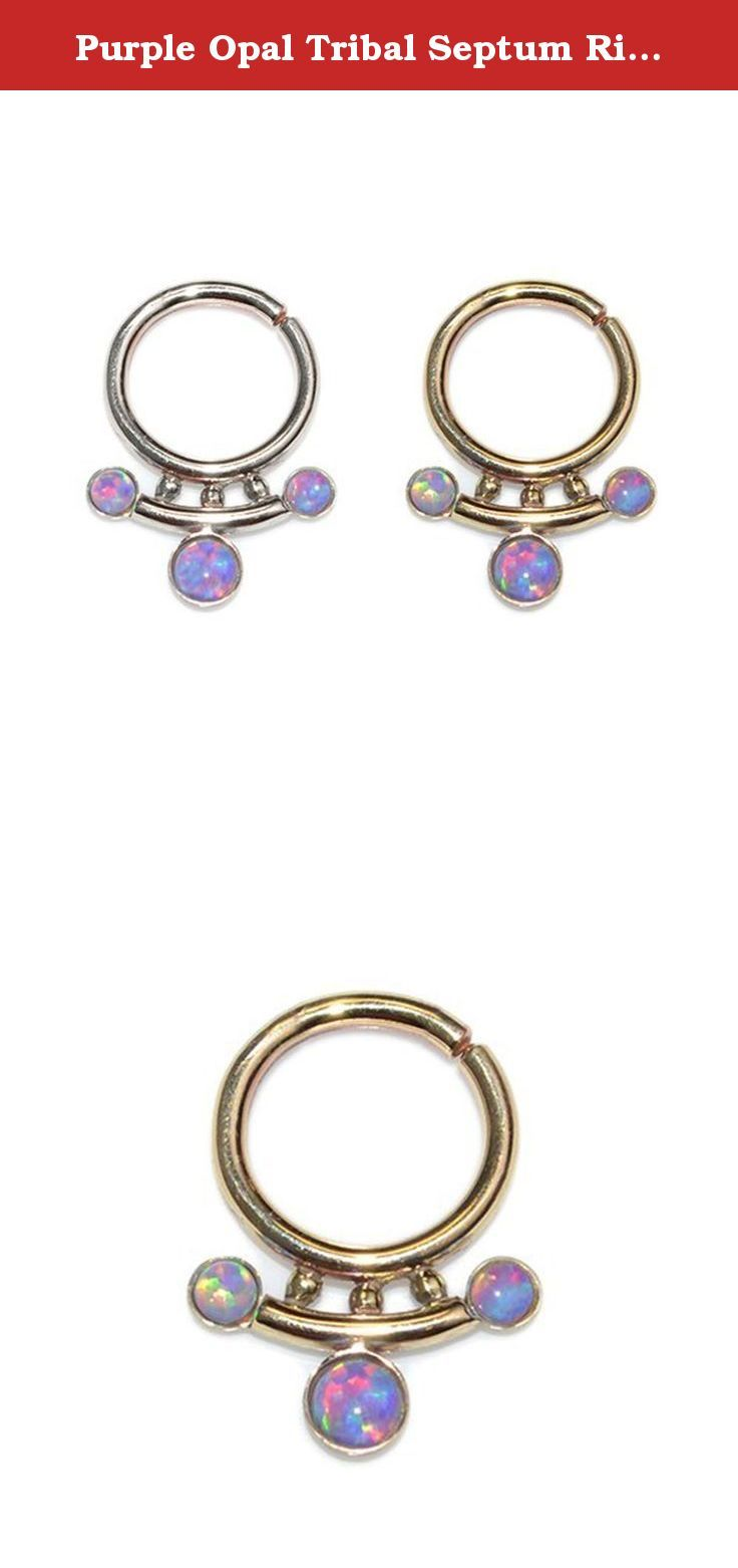 Best nose piercing jewelry  Purple Opal Tribal Septum Ring Gold g For Men  Nose Ring Septum