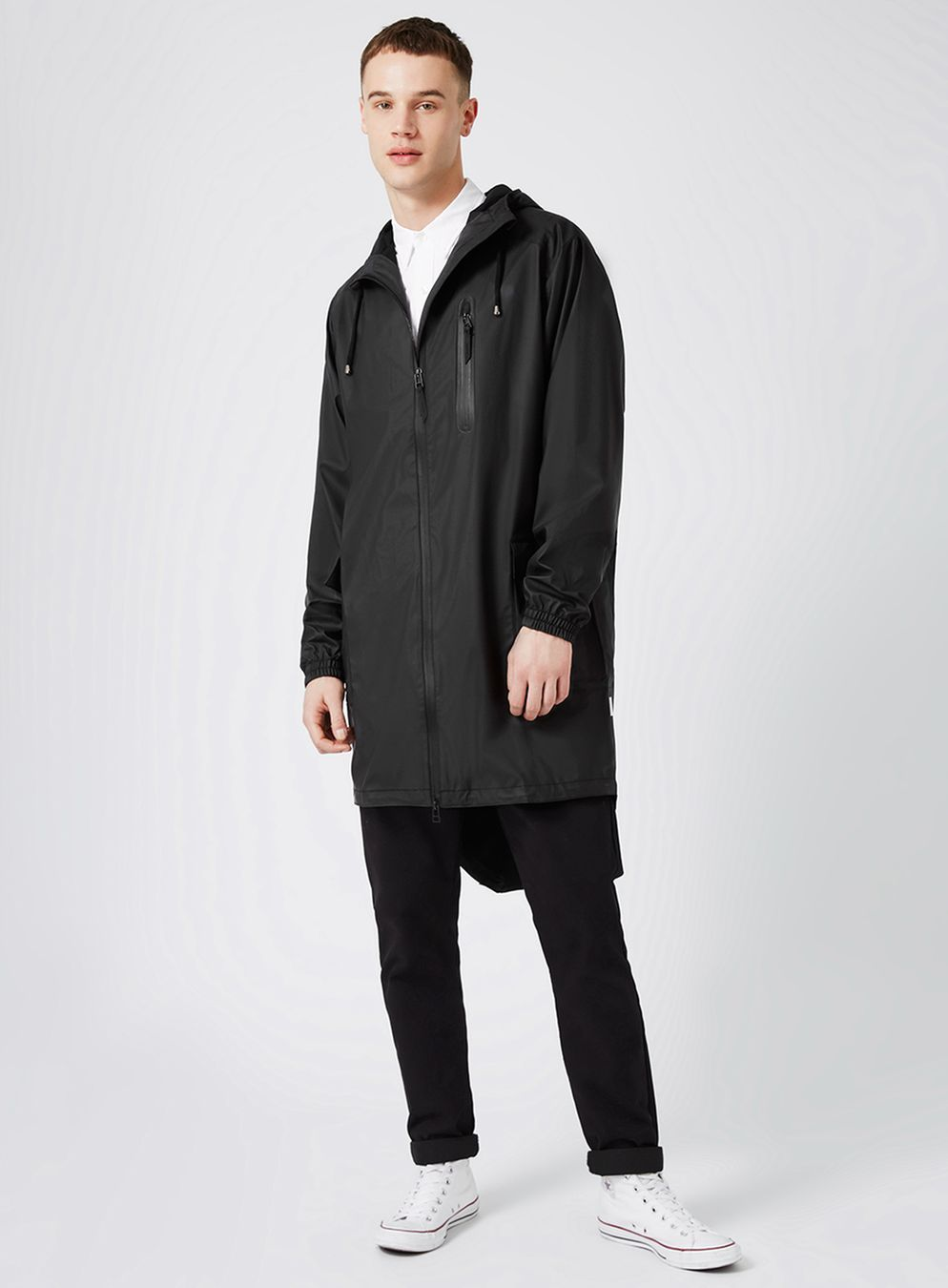 RAINS Black Long Parka Raincoat | Long parka, Raincoat and Black