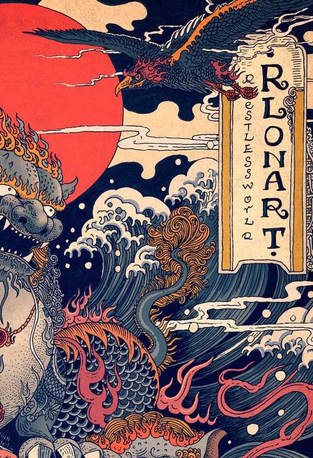 Dynamic Scenes of Nature and East Asian Mythology