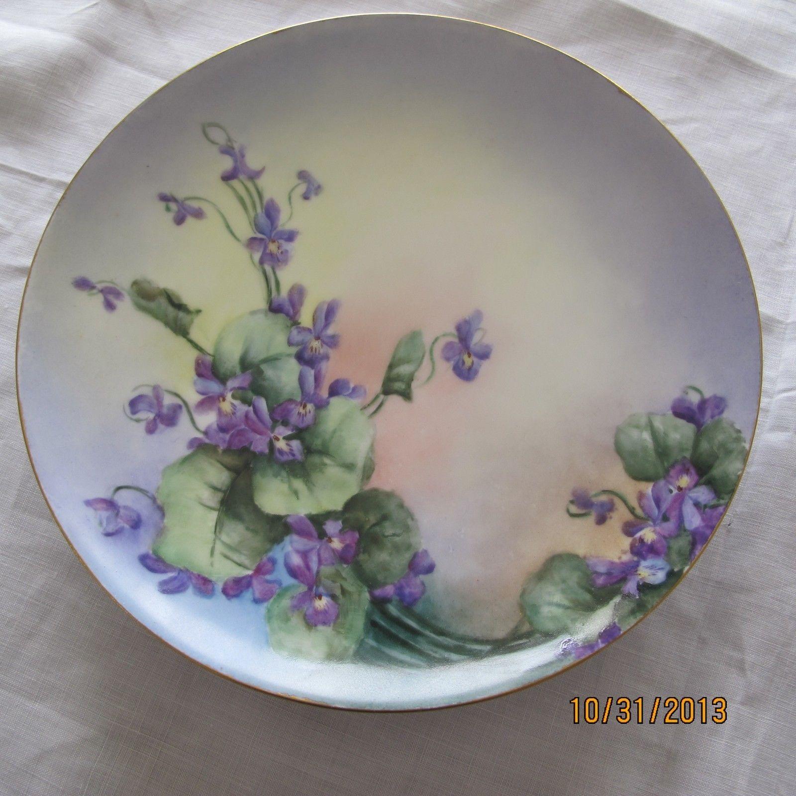 Antique Limoges Haviland France Handpainted Violets Artist Signed Plate & Antique Limoges Haviland France Handpainted Violets Artist Signed ...