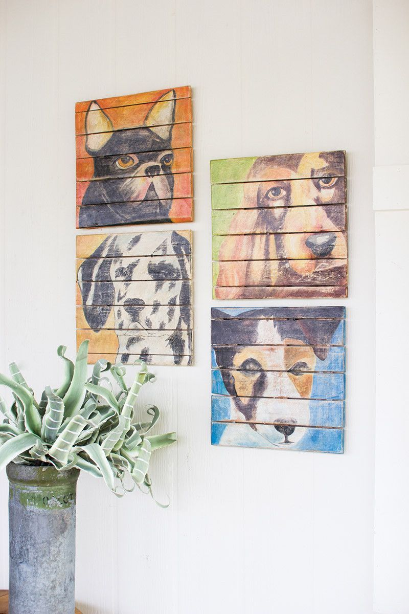 Why we love it recycled wooden dog paintings set of more