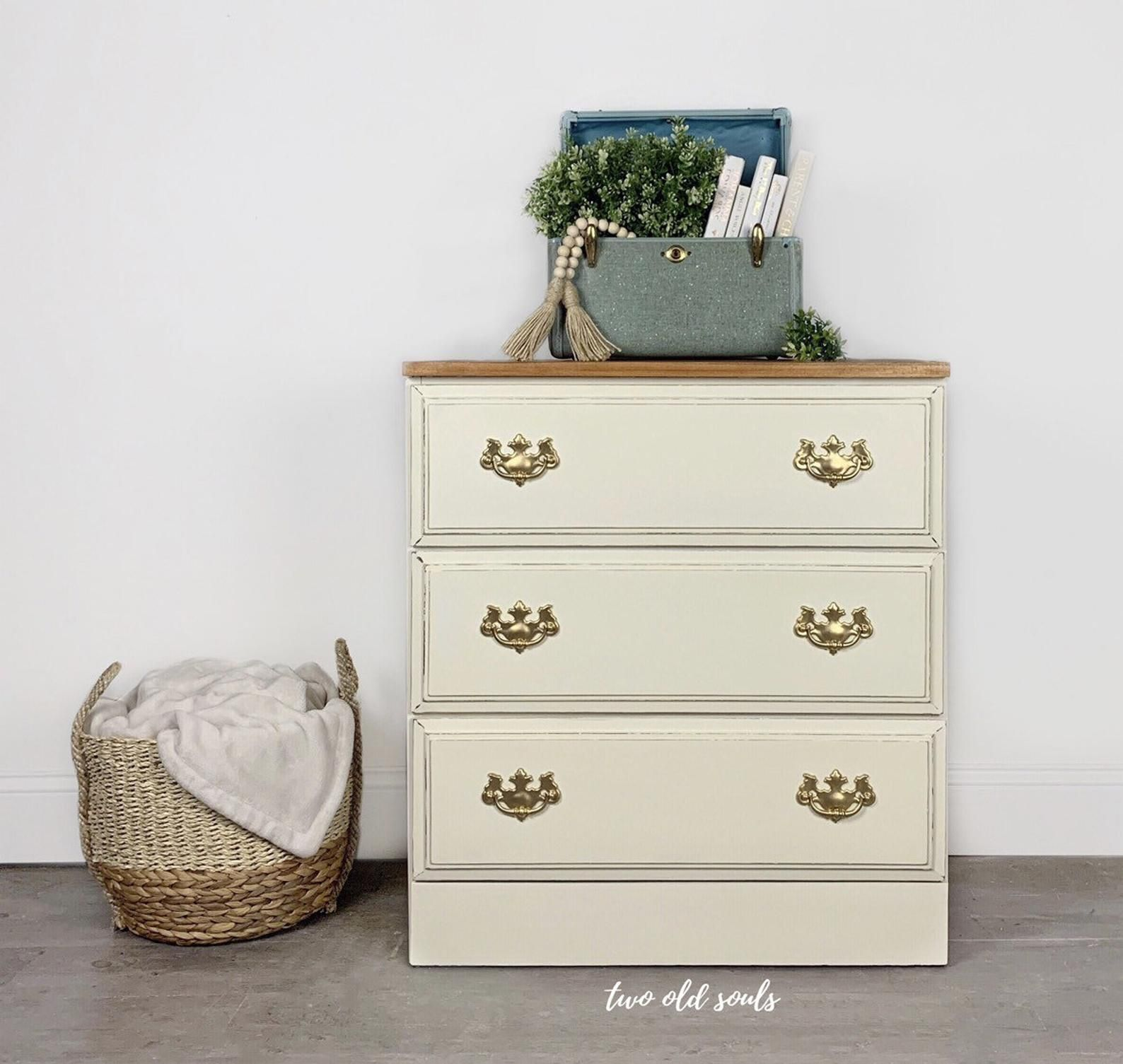 Vintage Off White 3 Drawer Child Dresser Two Toned Stained Etsy Modern Farmhouse Furniture My Furniture Dresser As Nightstand [ 1505 x 1588 Pixel ]