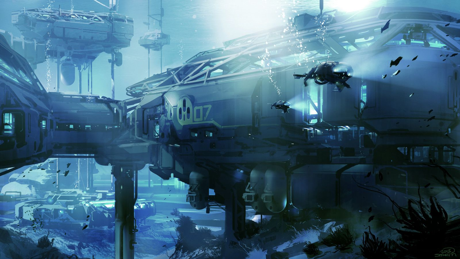 Halo 5 Underwater Station Mp Concept Sparth Environment Concept Art Concept Art Sci Fi Concept Art
