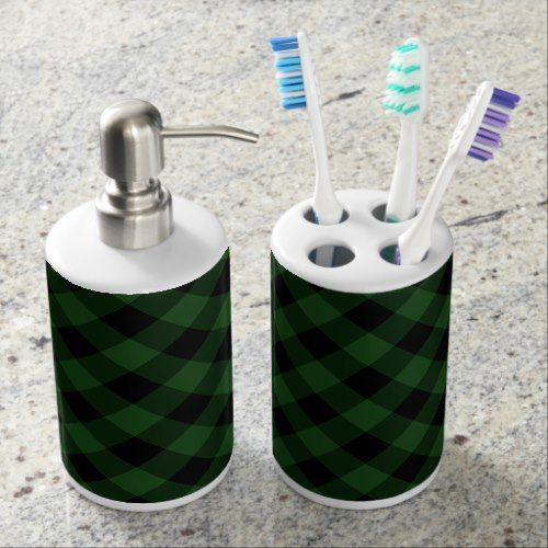 Rustic Green And Black Buffalo Plaid Soap Dispenser And Toothbrush Holder Zazzle Com Bathroom Red Bathroom Soap Dispenser Soap Dispenser