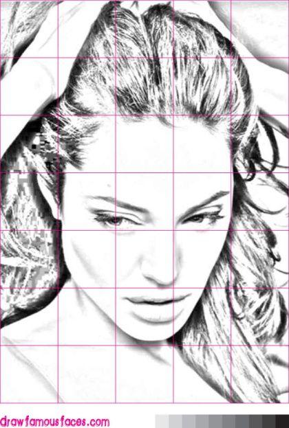 How to Draw Angelina Jolie: Grid | Artsy. | Pinterest | Zeichnen