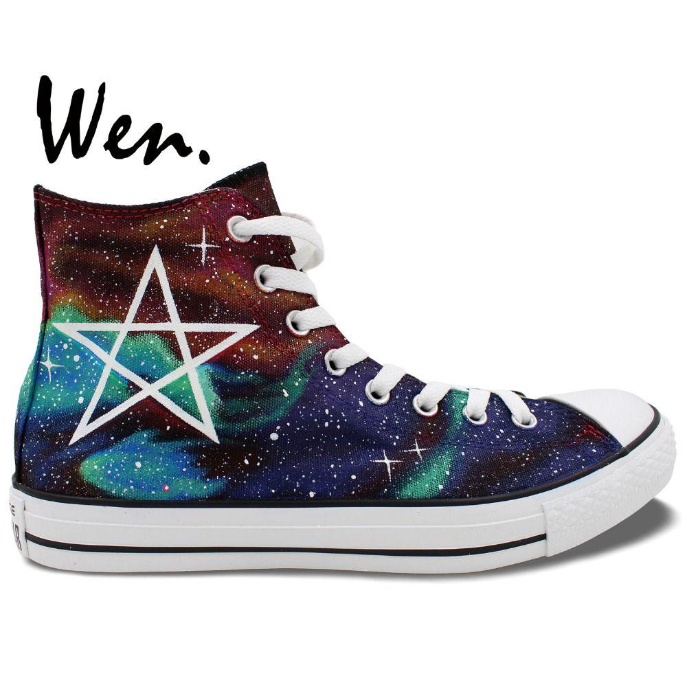 Wen Hand Painted Shoes Original Design Custom Galaxy Pentagram Nebula  Harajuku Men Women s High Top Canvas dead7e3f0d7