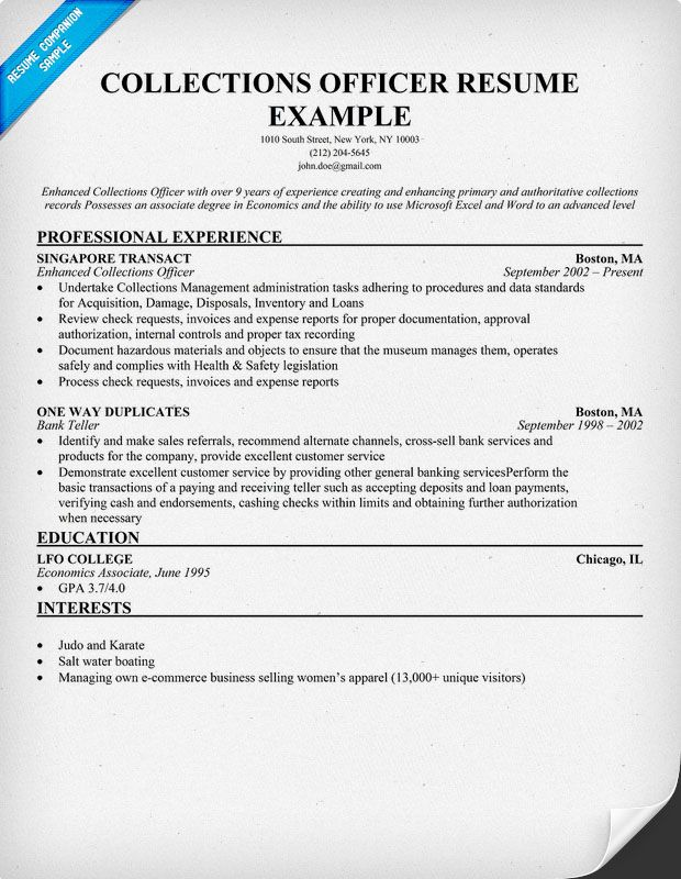 Collections Officer Resume  Resume Samples Across All Industries