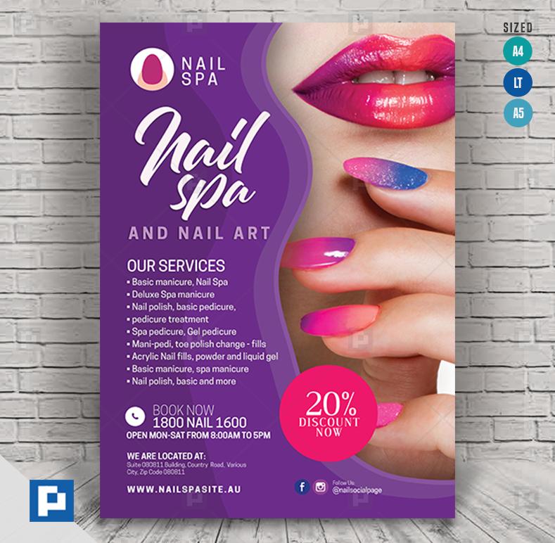 Nail Care Spa And Salon Flyer Psdpixel Spa Manicure Nail Care Nail Spa