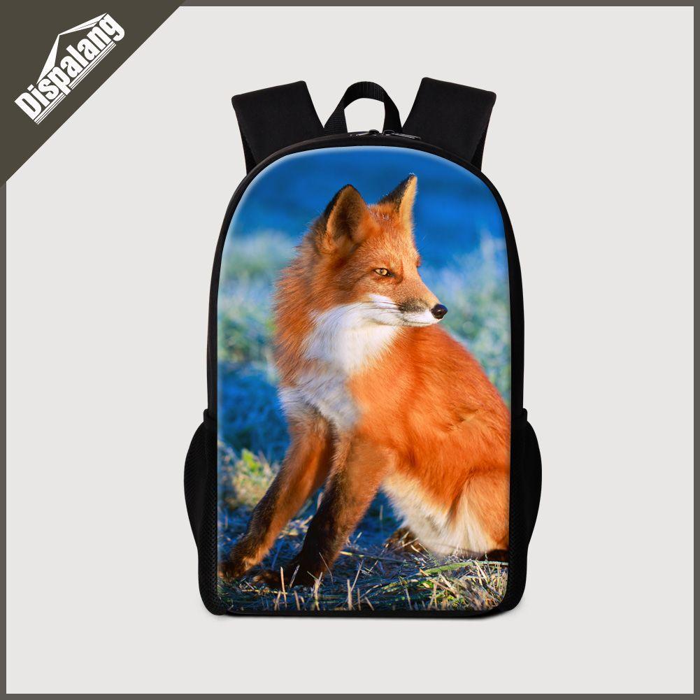 ac0b390a94 Dispalang cute children boys backpack for high school fashion 3D fox  printing school bookbag for girls