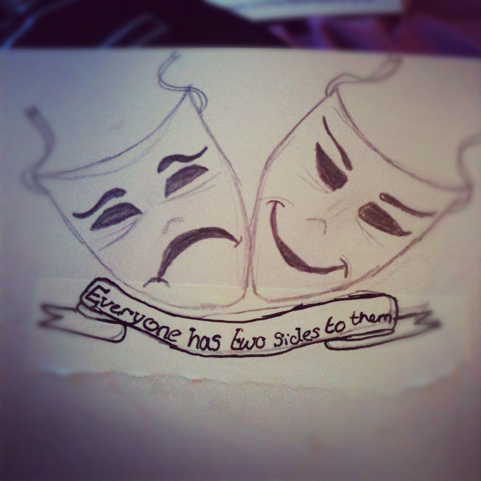 Happy and sad face masks happy and sad face tattoos -  Drama Masks Happy Sad Twosides