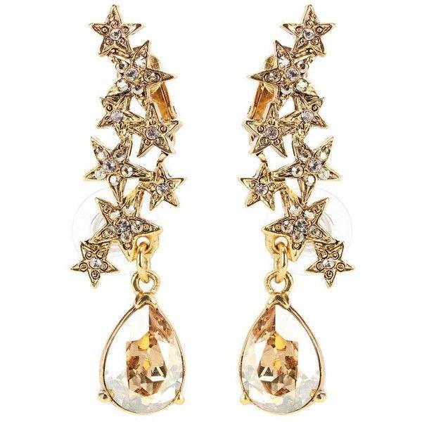 04b3ed163fc Oscar de la Renta Crystal-Embellished Earrings (21,630 INR) ❤ liked on Polyvore  featuring jewelry, earrings, gold, gold earrings, gold jewelry, oscar de la  ...