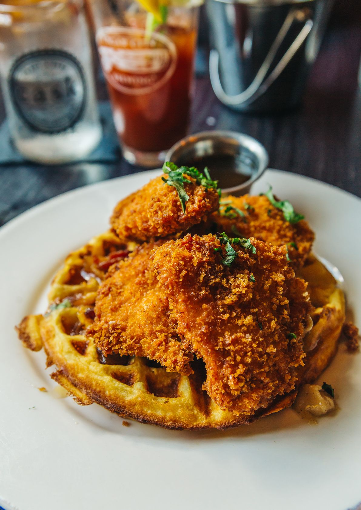 Try the chicken & waffles at Cask in Tampa, Florida!