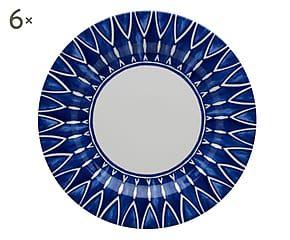 Set di 6 piatti da dessert in ceramica Azure bianco/blu - d 23 cm