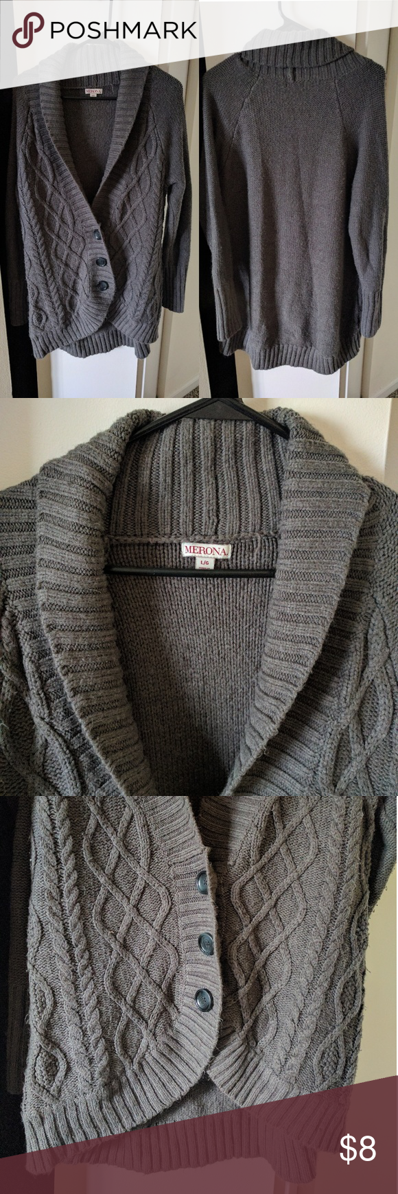 Thick gray Grandpa sweater Super cozy, soft cotton sweater with ...